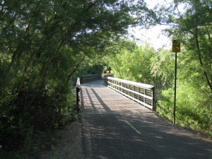 Bridge crossing creek on walking trail