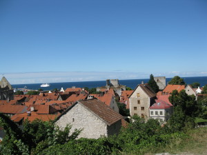 Looking over the roof tops @ Visby  with Wind Surf in the distance