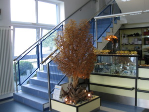 Amber tree at the entrance of the factory