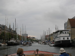 View of Copenhagen's waterfront from the boat