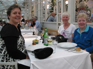 Anne, Ginni, and I having dinner at restaurant in Tivoli Gardens