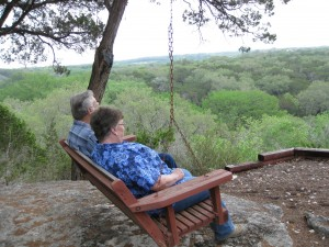 Enjoying view from swing at overlook