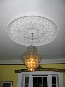 Beautiful chandelier and molding