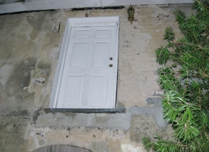 Door of carriage house where slave lived