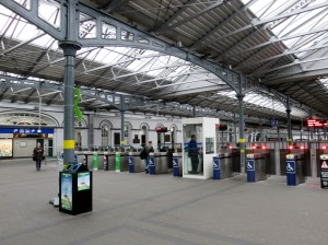 Inside the station's loading area