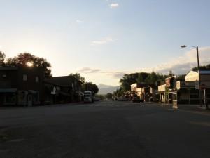 Sun rising downtown Ennis