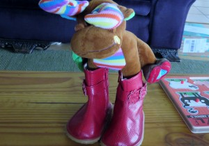 Montana Moose likes Savanna's new red boots