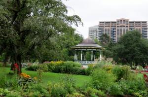 Areas of flowers surrounding gazebo