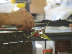 Making glass hummingbird