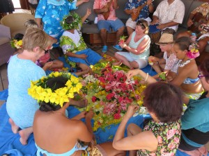 Showing how to make leis
