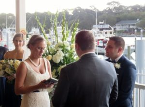 Dana and Chris saying their vows