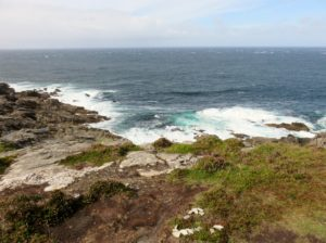 North Atlantic waves pushing into rocks at Malin Head