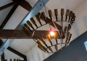 Beer bottles part of light fixture