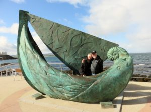 Fosters at the Fishing Boat sculpture